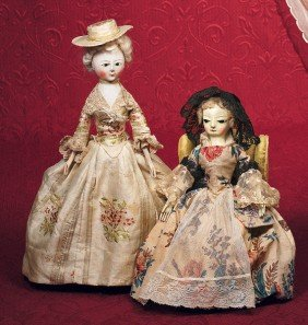 "EARLY CARVED WOODEN ENGLISH DOLL KNOWN AS ""QUEEN AN"