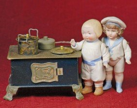 """MINIATURE TIN STOVE.  Marks: Made In Germany.  4 �"""""""