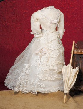 """ANTIQUE FRENCH FASHION WEDDING GOWN.  4 �"""" Across"""