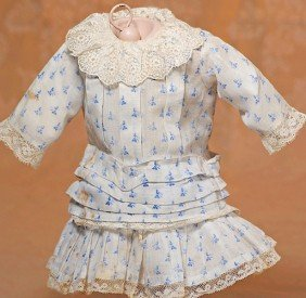 ANTIQUE BLUE AND WHITE COTTON DRESS FOR BEBE