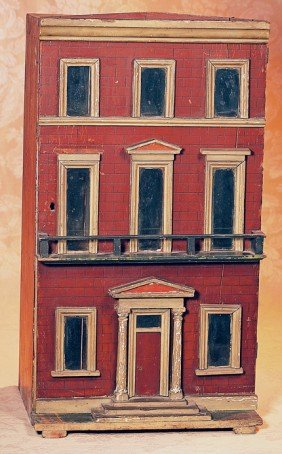 MID-NINETEENTH CENTURY THREE-FLOOR DOLL TOWN HOUSE