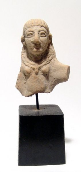 An Attractive Levantine Terracotta Bust Of Astarte