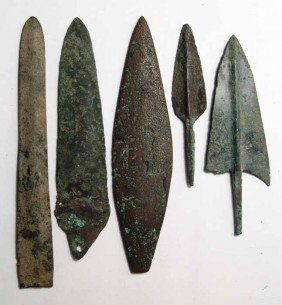 5 Bronze Blades And Arrow Points, Near East