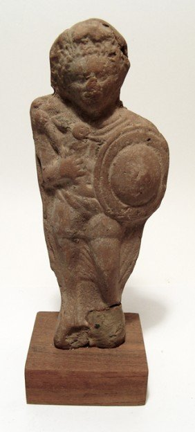 Egyptian Terracotta Figure Of A Youthful Soldier