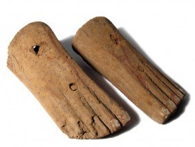 2 Egyptian Wooden Feet, Middle Kingdom