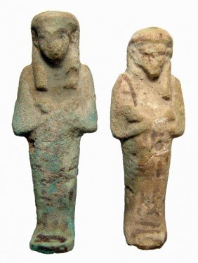 Pair Of Egyptian Bicolor Faience Ushabtis