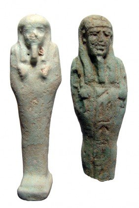 2 Pale Green Faience Ushabtis, Late Period
