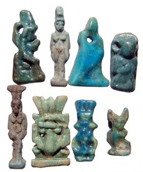 8 Nice Egyptian Faience Amulets, Late Period