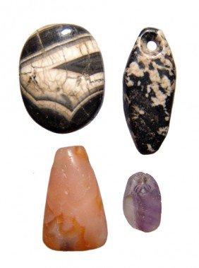 Lot Of 4 Near Eastern Hard Stone Pendants