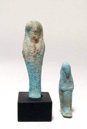2 Egyptian Faience Ushabtis, Late Period