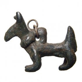 Near Eastern Bronze Amulet Of A Horned Goat