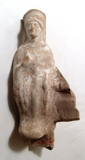 Greek Pottery Decoration In Form Of Robed Female
