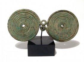 A Villanovan Bronze Double Spiral Spectacle Brooch