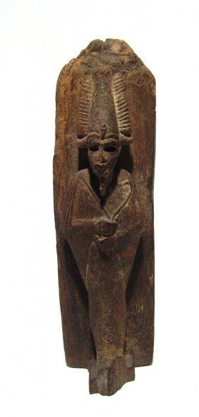 Extraordinary Egyptian Wood Obelisk With Osiris, Late