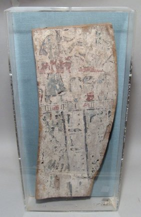 An Egyptian Painted Wood Panel, Late Period