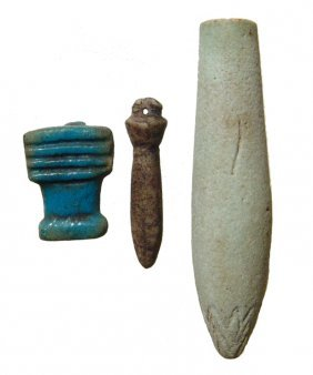 A Group Of 3 Egyptian Amulets, Late Period