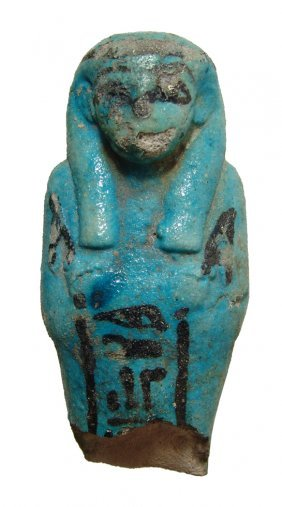 Egyptian Bicolor Faience Ushabti Torso For