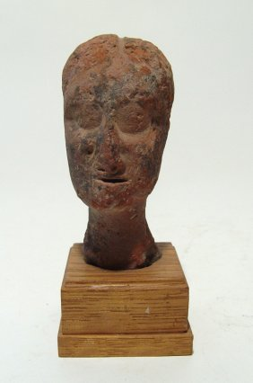 Greek Terracotta Head Of A Woman, C. 4th - 3rd Century