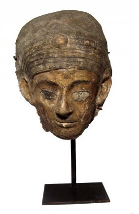 Extraordinary Painted And Gilded Cartonnage Mummy Mask