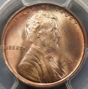 1909-VDB Cent, PCGS MS66 Red