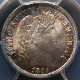 1893 Barber Dime, PCGS MS66, Toned