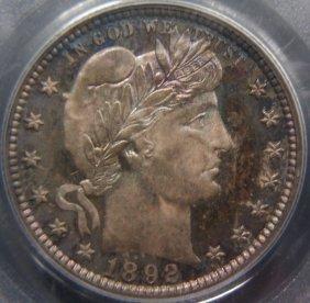 Toned 1892 Barber 25C, PCGS PR66, CAC
