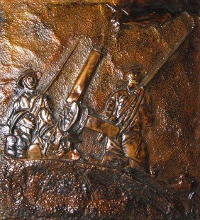 WWI Trench Art Plaque W/ Machine Gunners