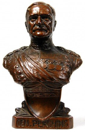 Sculpture, Bust Of General J. Pershing By Barth