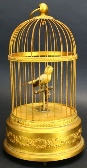 French Automaton Singing Bird Cage, C. !900