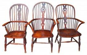 (3) Windsor Chairs, C. 1820