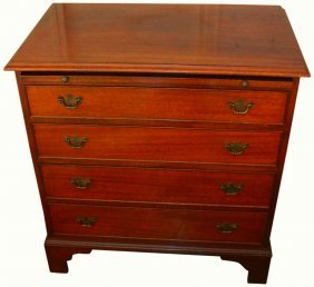 Mahogany Four Drawer Bureau, Chippendale Style