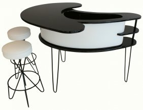 Bar & Two Stools, Paul Tuttle, Hairpin Legs