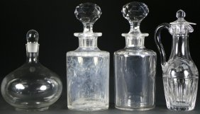 (4) Cut Glass Decanters With Stoppers