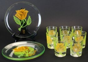 Set Federal Glass, (8) Plates And (8) Glasses