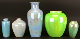 Five Piece Blue & Green Lusterware Pottery