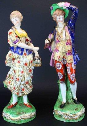 "Pair Porcelain Figurines, 21"" Tall"