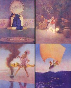 (4) Prints, Maxfield Parrish, 1920s