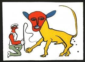 "Lithograph, A. Calder, ""lion Tamer"" C.1974"