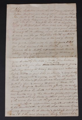 Indentured Servant Contract, Ct, 1824