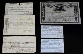 Certificates, Mining Co. & Town Ownership, 1850s