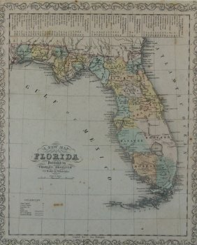 A New Map Of Florida 1856, Framed