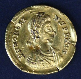 Roman Imperial Gold Coin Of Honorius Solidus