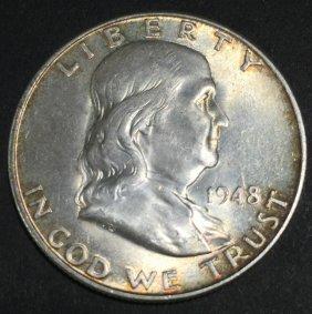 1948-d $ .50 Franklin Fbl Ms 63