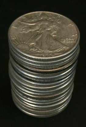 Roll Of Circulated Walking Liberty Half Dollars C