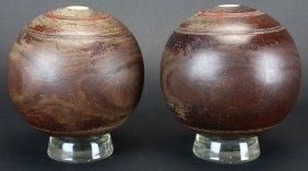 Pair Wood Bocce Balls Or Lawn Bowls, C.1900