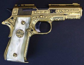 Llama Model G-iiia .380 Gold Damascene Pistol