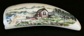 Ivory Scrimshaw, Cabin And Boat Landscape