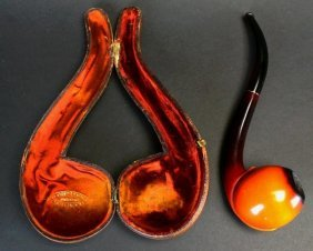 Orange Meerschaum Pipe, Amber Stem