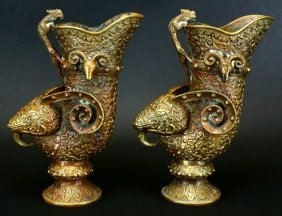 Pair Bronze Libation Vessels, Relief Carved