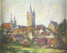 O/c Landscape W/churches, T. F. Bernstein